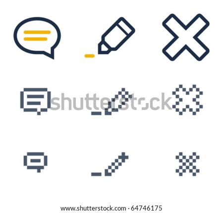 Comment, edit and delete icons. Icons are aligned to pixel grid. This means that the images are prepared for use in small-sizes. Specially for the Web. - stock vector