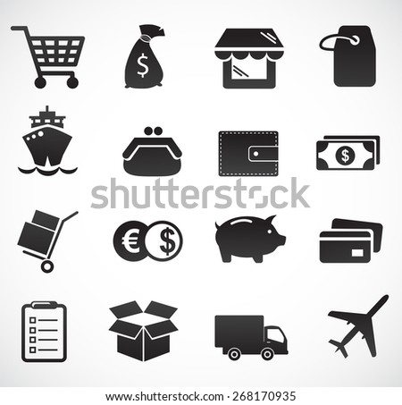 Commerce and delivery icon set. Vector art. - stock vector