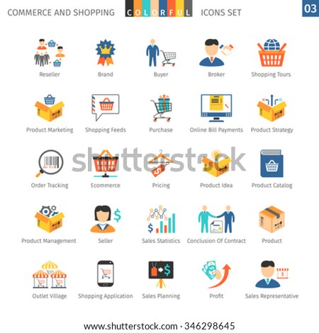 Commerce And Shopping Colorful Icons Set 03 - stock vector