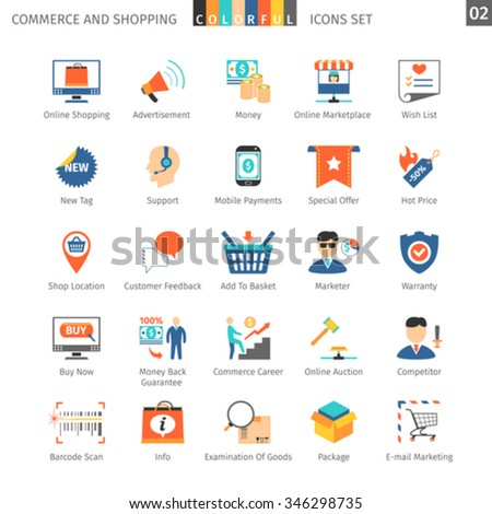 Commerce And Shopping Colorful Icons Set 02