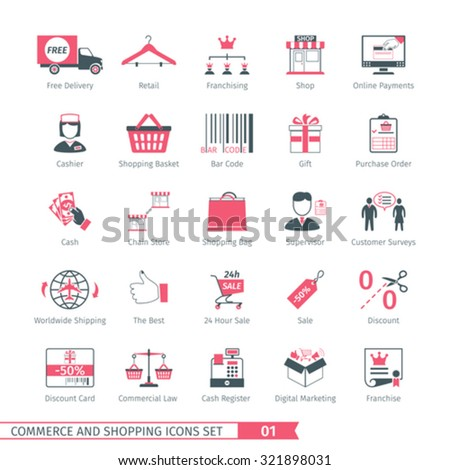 Commerce And Shopping Icons Set 01 - stock vector