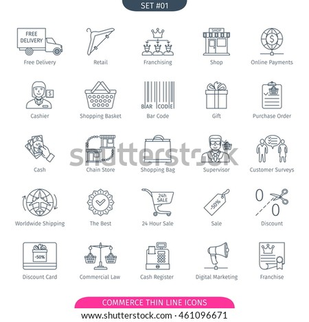 Commerce And Shopping Thin Line Icons Set. Web Elements Collection