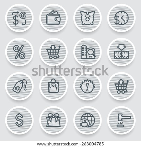 Commerce black icons on gray stickers. - stock vector