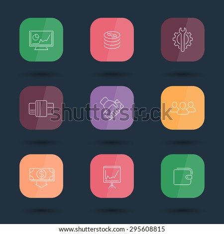 commerce, finance, payments line color rounded square icons, vector illustration, eps10, easy to edit - stock vector
