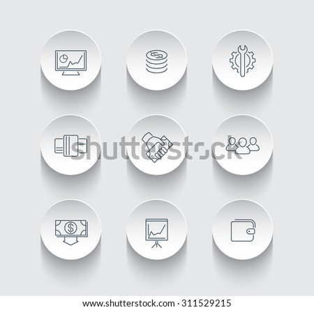 commerce, finance, payments thin line round icons, vector illustration, eps10, easy to edit - stock vector