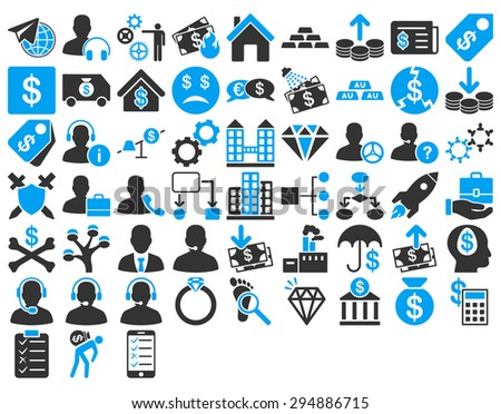 Commerce Icon Set. These flat bicolor icons use blue and gray colors. Vector images are isolated on a white background.  - stock vector
