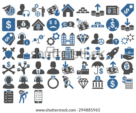Commerce Icon Set. These flat bicolor icons use cobalt and gray colors. Vector images are isolated on a white background.  - stock vector