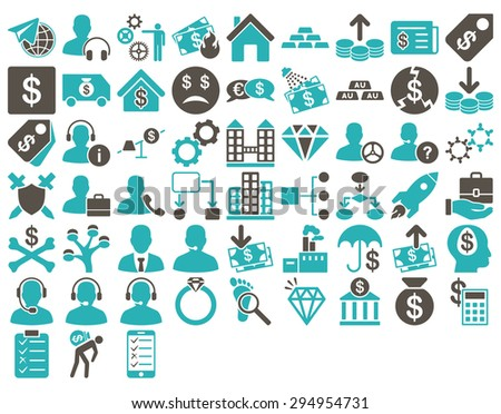 Commerce Icon Set. These flat bicolor icons use grey and cyan colors. Vector images are isolated on a white background.  - stock vector