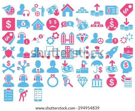 Commerce Icon Set. These flat bicolor icons use pink and blue colors. Vector images are isolated on a white background.