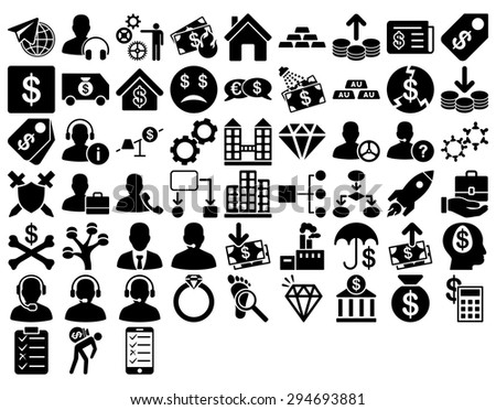 Commerce Icon Set. These flat icons use black color. Vector images are isolated on a white background.  - stock vector