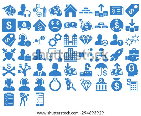 Commerce Icon Set. These flat icons use cobalt color. Vector images are isolated on a white background.  - stock vector