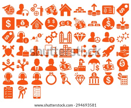 Commerce Icon Set. These flat icons use orange color. Vector images are isolated on a white background.  - stock vector