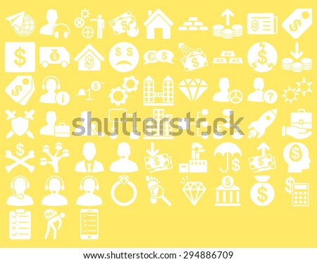 Commerce Icon Set. These flat icons use white color. Vector images are isolated on a yellow background.  - stock vector