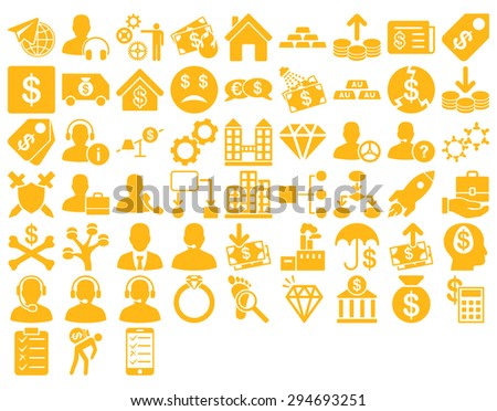 Commerce Icon Set. These flat icons use yellow color. Vector images are isolated on a white background.  - stock vector