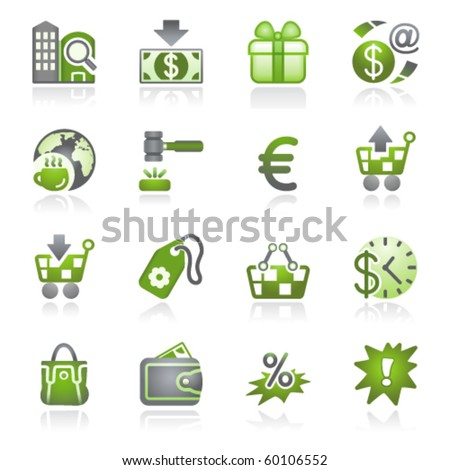 Commerce icons. Gray and green series. - stock vector