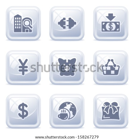 Commerce icons on gray buttons. - stock vector