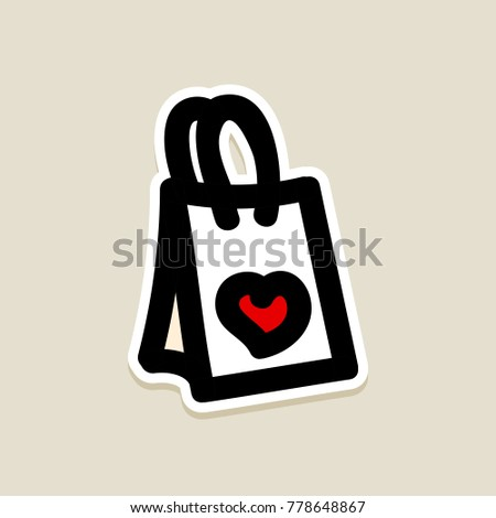 Commerce online shop supermarket shopping bag stock vector 778648867 commerce online shop supermarket shopping bag online store valentines day icon doodle hand m4hsunfo