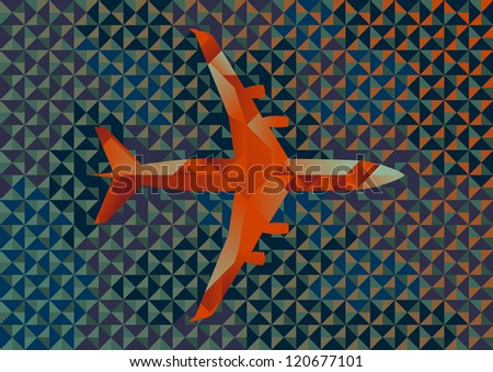 Commercial Airplane Illustration of Interlocking Geometric Shapes