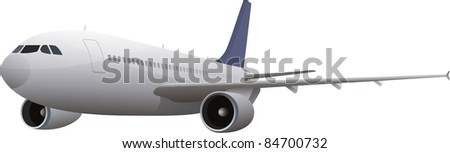 commercial airplane isolated on white - stock vector