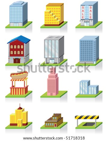 Commercial Building Icon -- 3D Illustration - stock vector