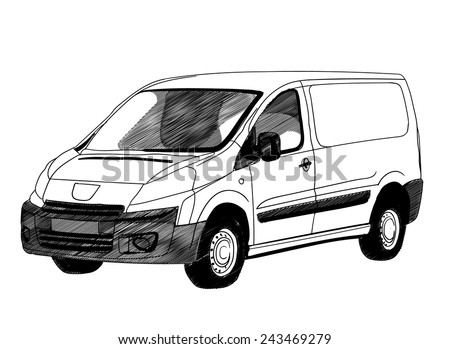 Commercial cargo van for business or delivery. a pencil drawing style