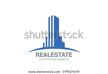 Commercial Property Real Estate vector logo design template.  Realty Concept icon. Skyscraper silhouette on Horizon. - stock vector