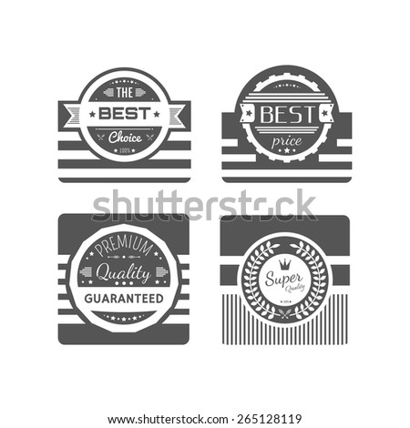 Commercial stamps set in vintage style for business and design on white background. Typographic design elements. Guarantee, quality and best choice badges. Vector illustration. - stock vector