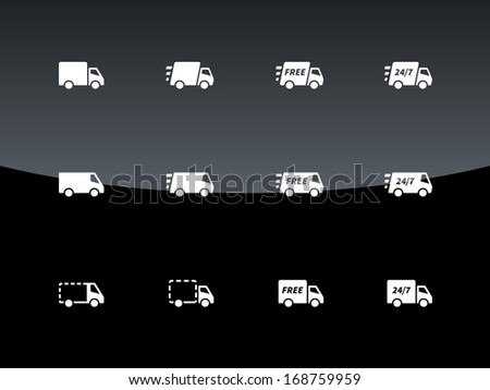 Commercial van icons on black background. Vector illustration. - stock vector