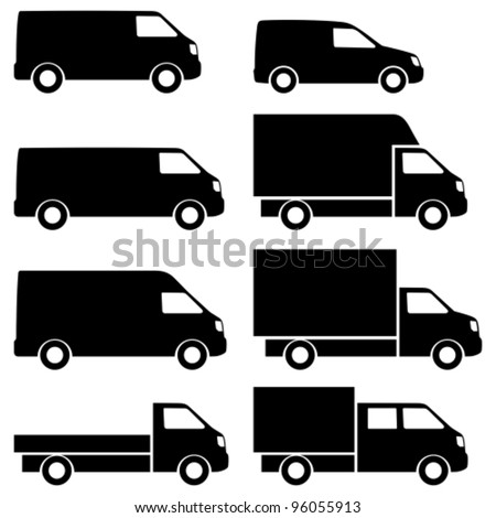 Commercial van icons set. See also commercial vans in color. - stock vector