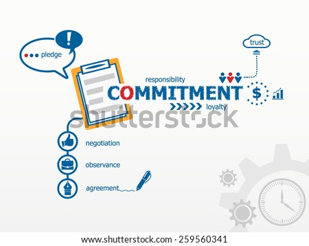 Commitment concept and notebook for efficiency, creativity, intelligence. Hand writing Commitment with blue marker - stock vector