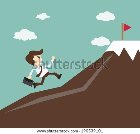 Commitment concept - Businessman climbing on the mountain - stock vector
