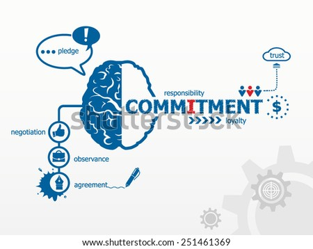 Commitment concept for efficiency, creativity, intelligence. Hand writing Commitment with blue marker - stock vector