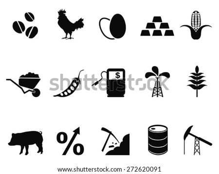 commodities trading market icons set