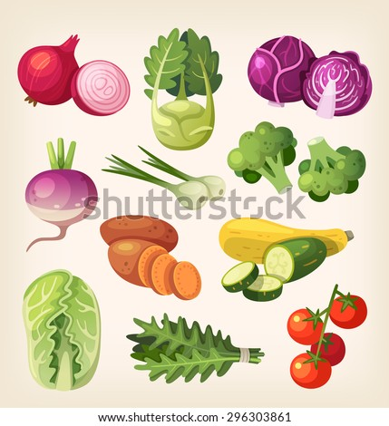 Common and exotic grocery, garden and field vegetables. Icons for labels and packages or for kid's education. - stock vector