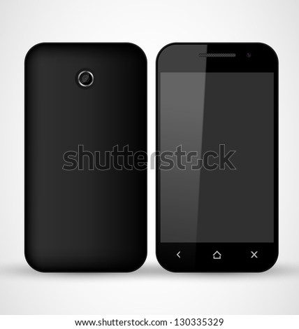 Common Black SmartPhone front and back view - stock vector