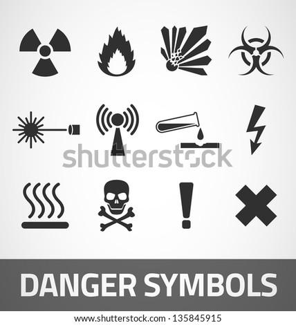 Common Danger symbols set - stock vector