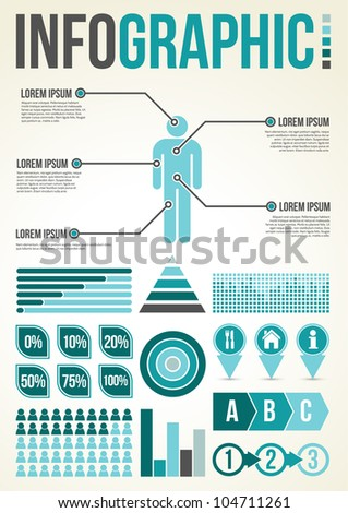 Common Infographic Template with graphs - stock vector