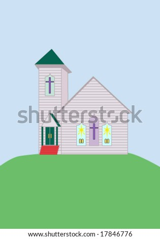 common rural country church on a grassy hill
