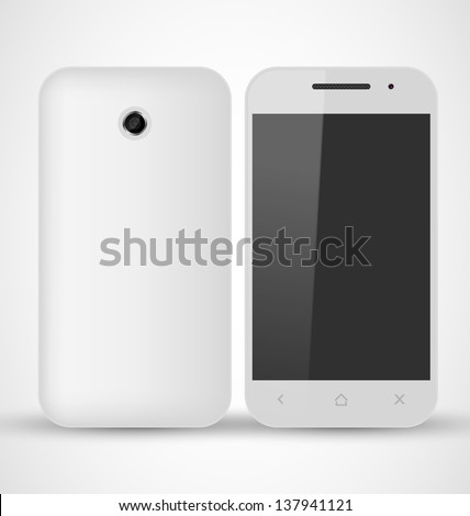 Common White SmartPhone front and back view - stock vector
