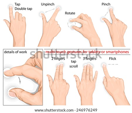 Commonly used multitouch gestures for tablets and smartphone. no mesh. Vector illustration. - stock vector