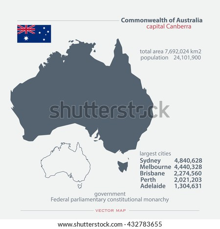 Commonwealth of Australia isolated maps and official flag icon. vector Australian political map icons with general information. Aussie geographic banner template. travel, business concept vector map - stock vector