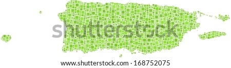 Commonwealth of Puerto Rico in a mosaic of green squares.  A number of 2631 little squares are accurately inserted into the mosaic. White background. - stock vector