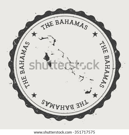 Commonwealth of the Bahamas. Hipster round rubber stamp with The Bahamas map. Vintage passport stamp with circular text and stars, vector illustration - stock vector
