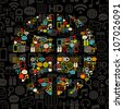 Communacation pattern with shape globe made from icons. Retro colors on black. - stock vector