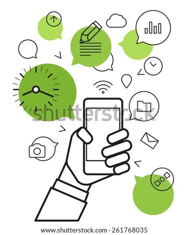 Communicating via modern smartphone. Simle line design illustration - stock vector