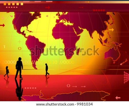 communication; abstract design background with people, world map, digits, arrows, waves - stock vector