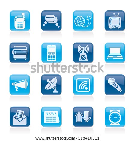Communication and connection icons - vector icon set - stock vector