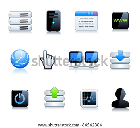 Communication and internet icons set - stock vector