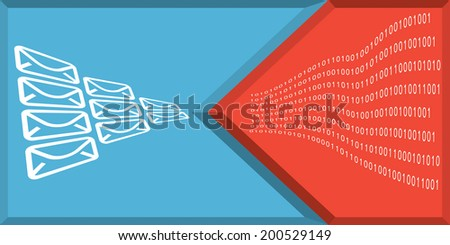 Communication and internet security concept with mail sign - stock vector