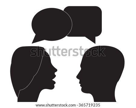Communication and interpretation icon. male and female head and speech bubble . - stock vector